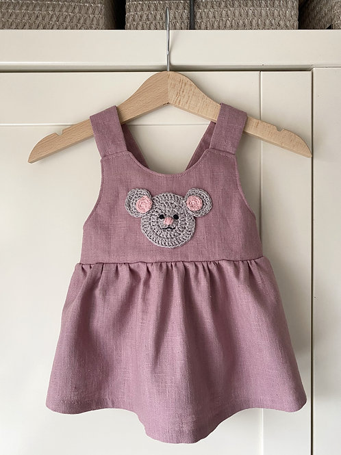 Handmade dusky pink linen pinafore dress with crochet grey mouse motif by Little Fig