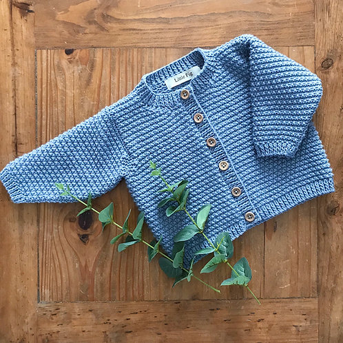 Blue basket weave style knitted baby cardigan with wooden buttons