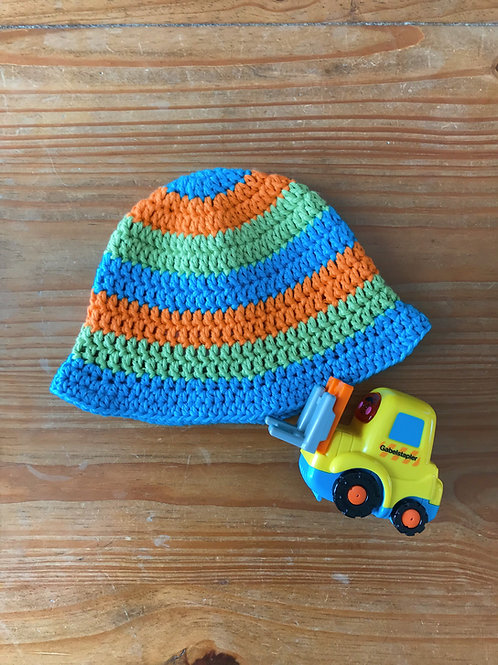 Green orange and blue crochet baby sun hat