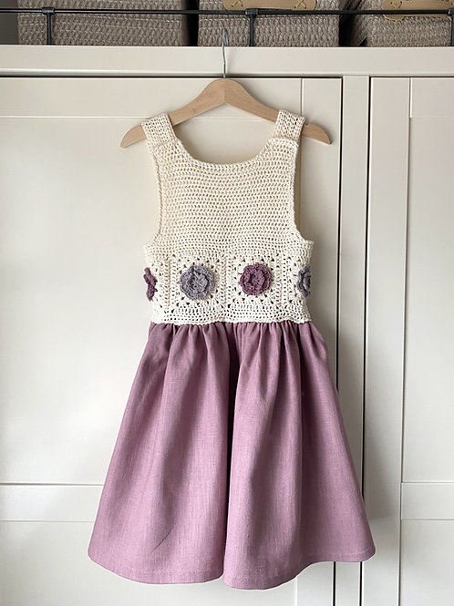 Handmade pink linen cream crochet granny square top rose childrens summer dress by Little Fig