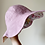 Plain side of handmade pink reversible floral patchwork sun hat with scallop petal edge cotton and linen by little fig