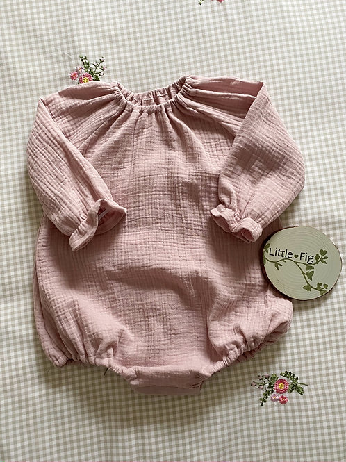 MAISIE Dusky Pink Double Gauze Gathered Bubble Romper