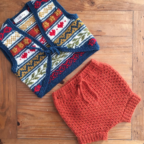 Bailey rust orange knitted pilchers nappy cover bloomers by Little Fig with fair isle waistcoat