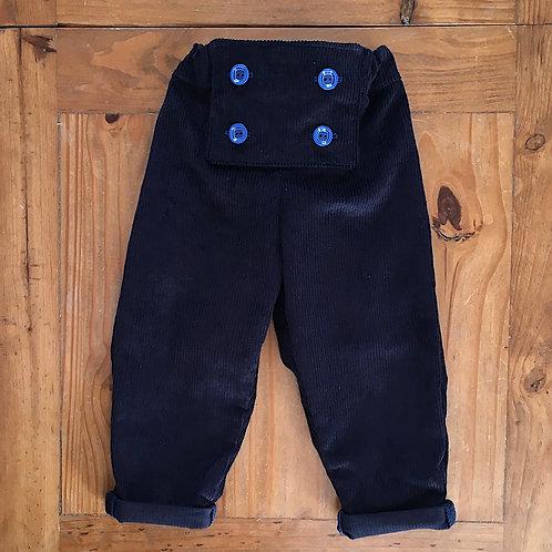 Oscar navy blue children's corduroy bib front trousers by Little Fig
