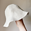 Reverse side of cream natural linen with boat print wide brim floppy kids sun hat by little fig
