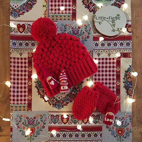 Red crochet hat and mittens set children's winter hat in acrylic yarn by Little Fig