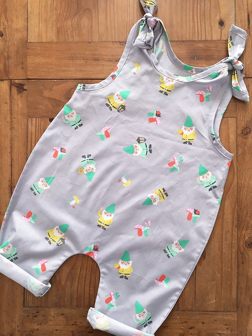 Handmade gnome print cotton baby toddler overalls with tie shoulders