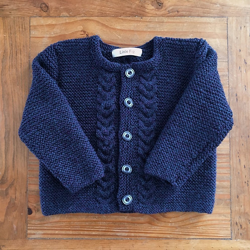 Wilbur navy blue blend wool cable cardigan by Little Fig