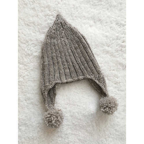 Handmade knitted pixie style baby bobble hat in brown