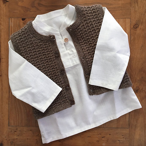 White Sage linen look cotton shirt with button loop and brown waistcoat
