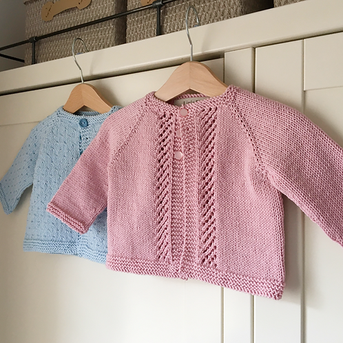 Light blue and baby pink cotton knit Pip cardigans by Little Fig