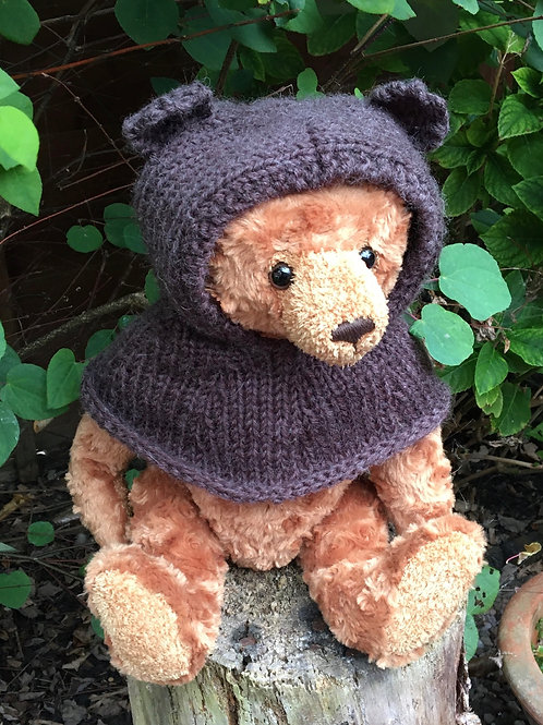 Handmade children's balaclava snood with bear ears knitted in brown yarn by Little Fig