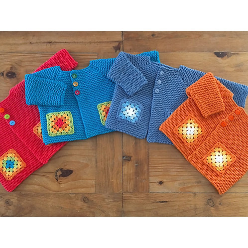 Rainbow granny square pocket cardigans in four colours