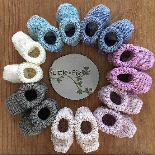 Handmade knitted childrens baby boots in rainbow colours by Little Fig