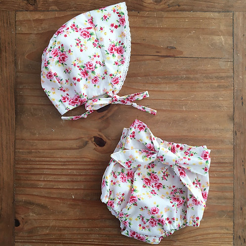 Handmade pink and white floral bonnet and bow baby bloomers set