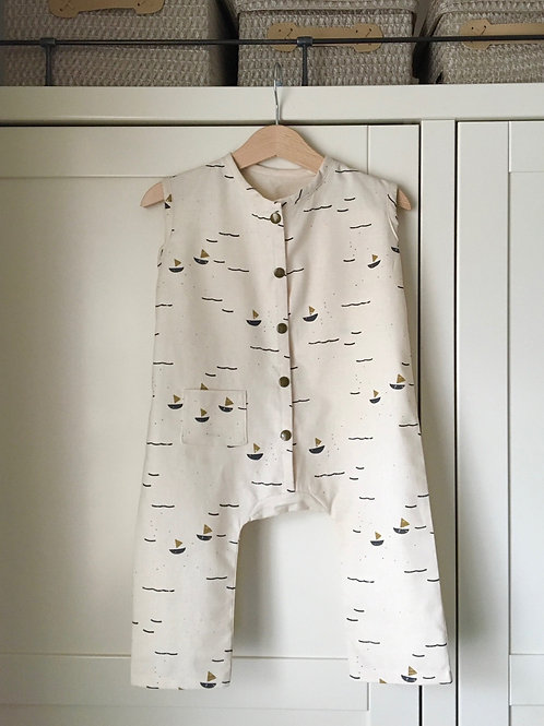 Jude boat print linen childrens jumpsuit in blue mustard and beige by Little Fig