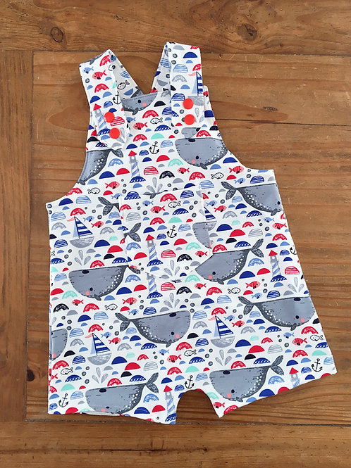 Whale print cotton jersey baby shortie dungarees romper