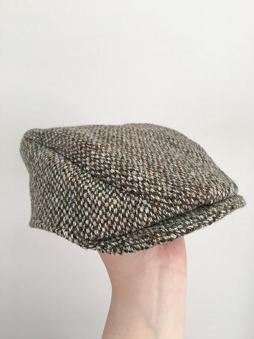 Handmade brown tweed baby hat side view flat cap