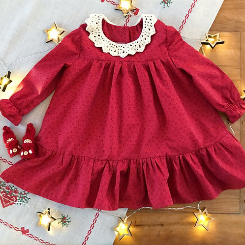 Traditional style baby dress with a crochet lace collar