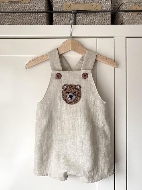 Natural beige linen shortie children's dungarees with brown bear motif crochet by Little Fig