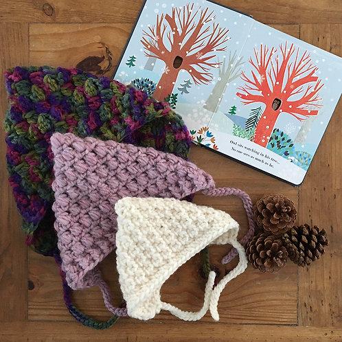 Handmade Aspen crochet pixie bonnet in dark multicolour, pink and white