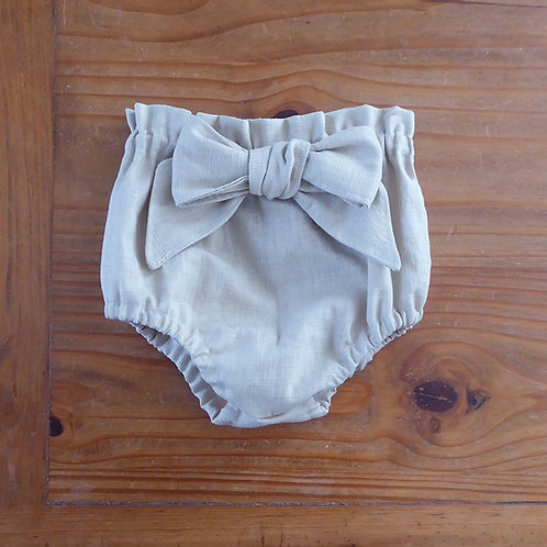 Beige linen paper bag waist bloomers with large bow by Little Fig