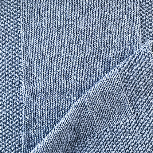 Moss stitch and stocking stitch blue knitted handmade baby blanket