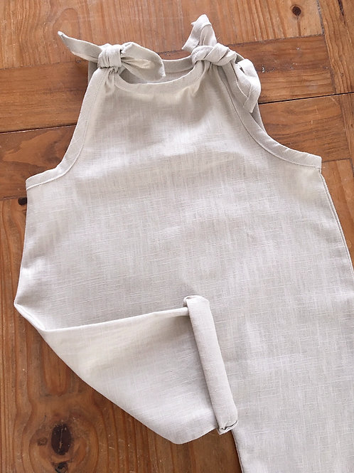 Plain beige linen handmade baby overalls style romper