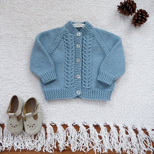 Duck egg blue vintage style baby cardigan with cable panel details