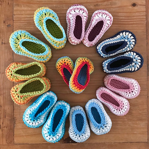 Handmade crochet cotton baby pram shoes slippers in rainbow colours