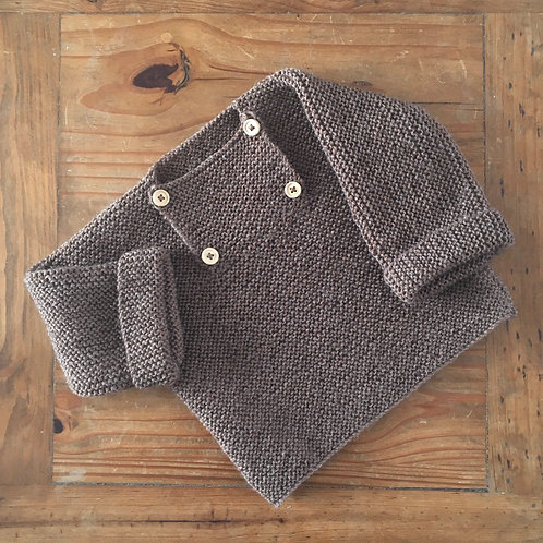 Handmade brown button front baby jumper with fold over sleeves and four buttons