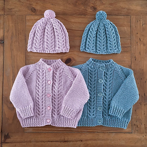 Pink and blue vintage feather cable baby cardigans by Little fig with matching bobble hats