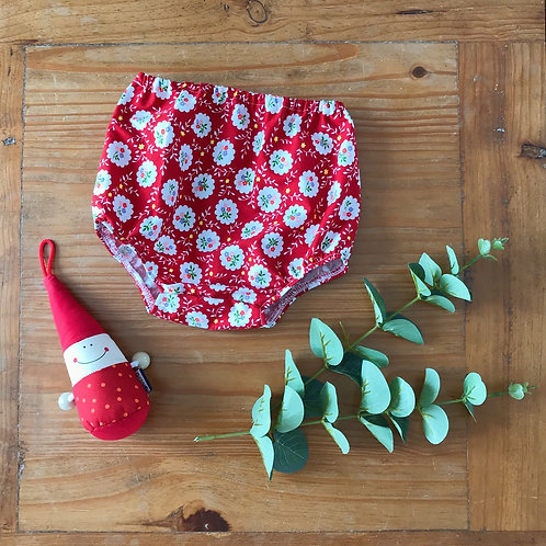 Vintage red floral print fabric baby nappy cover