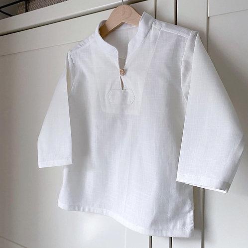 SAGE White Linen Look Cotton Shirt