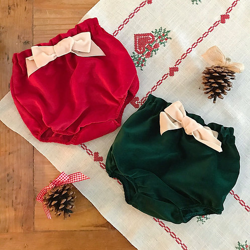 Red and dark green velvet baby bloomers with a cream satin bow