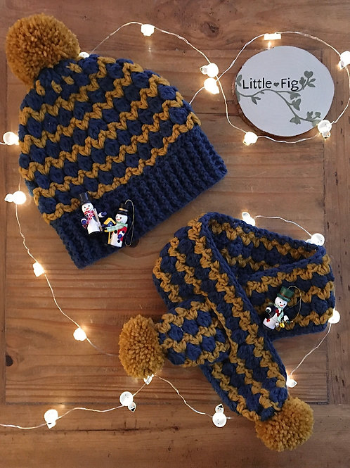 zig zag stripe mustard yellow and teal blue scarf and hat set crochet by Little Fig