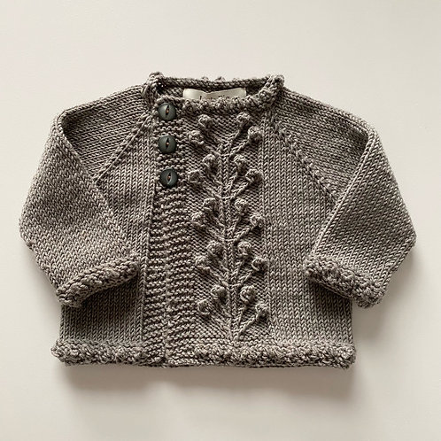 handmade knitted oak brown winter berry childrens cardigan by Little Fig