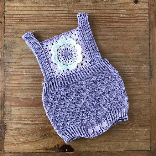 Purple mandala crochet granny square baby romper