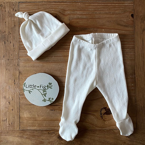 Knot hat and footie leggings diamond lace baby cotton jersey set by Little Fig