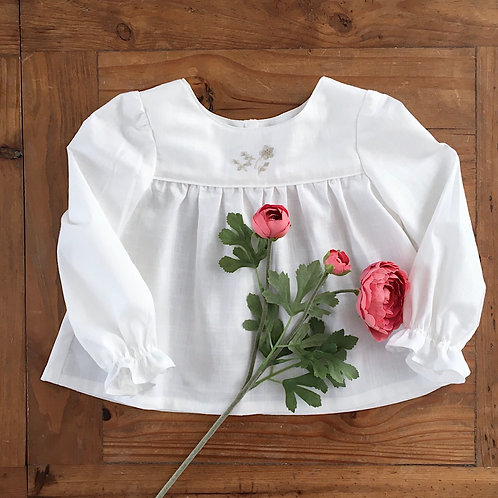 Gracie hand embroidered cotton children's blouse by Little Fig