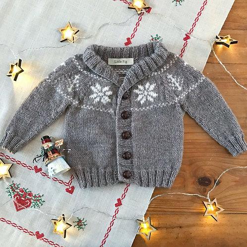 Brown snowflake pattern yoke knitted baby cardigan
