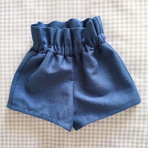 handmade navy blue paper bag waist childrens Ella shorts by Little Fig