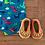 Handmade crochet cotton baby pram shoes slippers in green orange and yellow