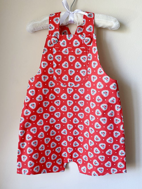 BOBBIE Red Heart Floral Shortie Dungarees