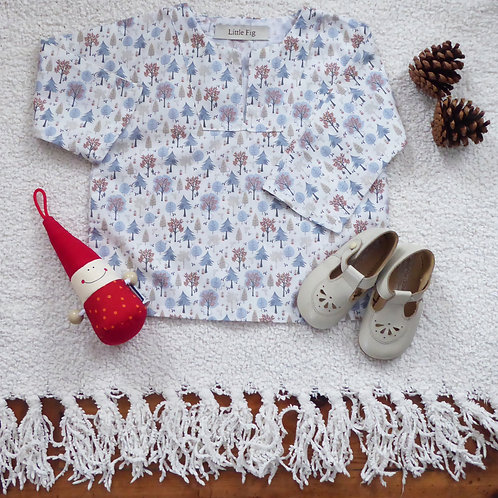 Woodland animal print baby smock top with gnome and shoes