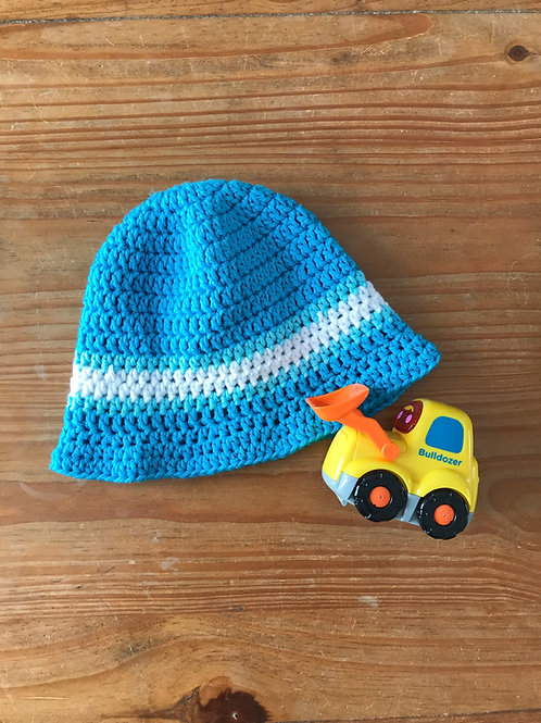 Blue and white band crochet baby sun hat