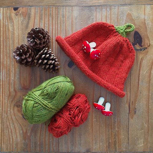 Handmade orange pumpkin knitted children's novelty halloween autumn hat by Little Fig