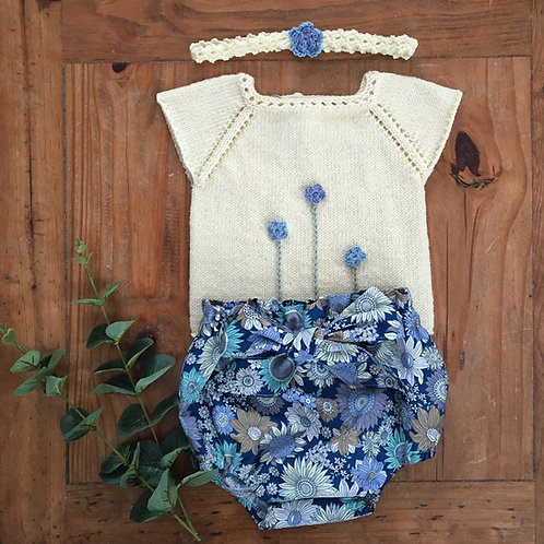 Crochet flowers on a cream knitted baby top with cap sleeves bow bloomers and headband