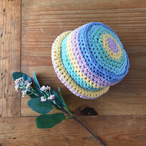 Pastel colour rainbow stripe baby boater hat