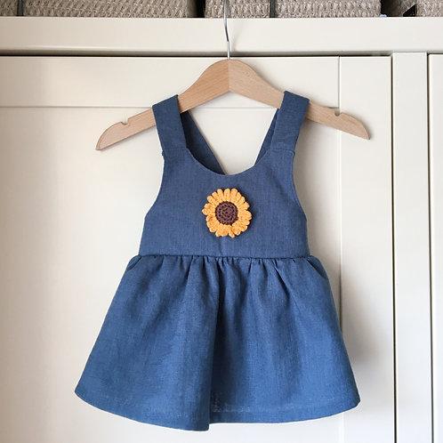 Sunflower Linen Pinafore Dress